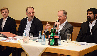 Jan Niestegge, Peter Frings, Dr. Klaus Winterkamp und Pater Shaji George